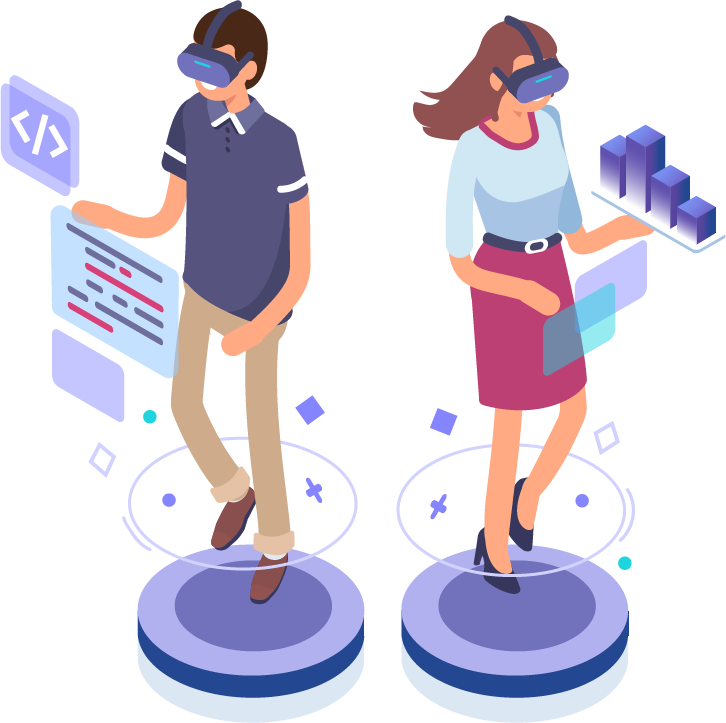 Man and woman using VR.
